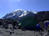 Pitching our tent at the base camp.  Almost there!