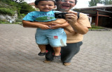 Rahil and Dad laughing it up at Glacier Gardens