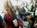 With the Goa-bound hippies on the bus from the terminal to the airplane.