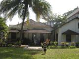 Rahil and coconut tree at Monisha's bungalow.
