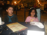 Rahil and Maya at East Meets West restaurant.