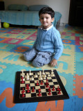 Rahil after his first real (i.e., no illegal moves) game of chess