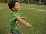 Running in the part to make his leaf-propeller spin.