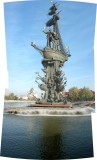 Nearly 100 meter high Peter the Great Statue on Moscow River