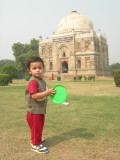 Playing frisbee in Lodhi Garden