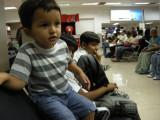At the Delhi airport.