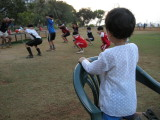 Distracted by the big kids exercising.