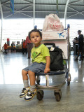 At the Bombay airport for the return flight home.