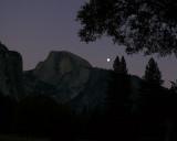 Evening moonrise near Half Dome