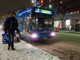Catching the number 3 bus in the snow