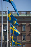 Swedish flags in front of the Castle