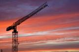 Crane in sunset