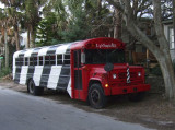 Bus painted to match the St Augustine lighthouse