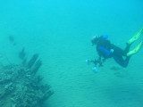 Bob free diving down to an ancient wreck.