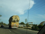 A common view in Turkey--the trucks are impossibly overloaded.
