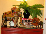Colorful antique elephant and new lion