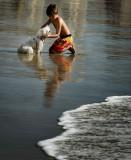 Boy and dog at Laguna Beach