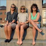 Three girls taking a break at Halden Square