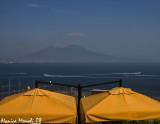 Yellow umbrellas panorama