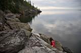 Annika on the rocks below the cabin