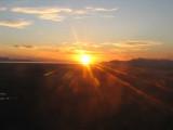 Sunset on flight in