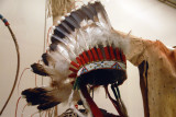 American Indian feather bonnet of Yellow Calf made from the immature tail feathers of a golden eagle, ca 1927