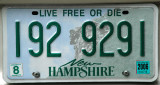 New Hampshire License Plate - Live Free Or Die