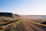 Driving between the North and South units of Theodore Roosevelt National Park
