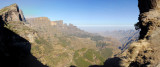 Panorama from the big hole in the cliff west of Chenek