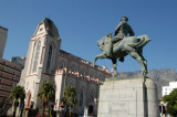Equestrian statue of Louis Botha with St. Mary's Cathedral, Cape Town