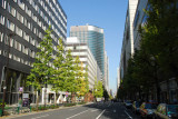 Empty streets on the weekend, central Tokyo