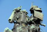 Close up of the samurai Kusunoki Masashige outside the Imperial Palace