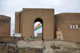 Kurdish flag seen through the south gate of Erbil Citadel
