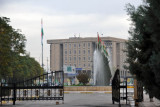 Kurdistan Parliament seen from the entrance to Sami Abdul-Rahman Park, Erbil