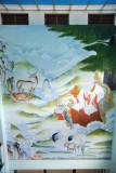 Mural of Tshering Namdrug - the six types of Long Life (old man, deer, stork, rock, waterfall, tree)
