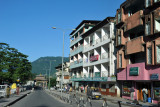 The main street of Phuentsholing leading from the Gate of Bhutan