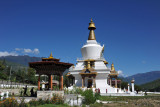 Brialliant white stupa of the National Memorial Choeten with a deep blue sky, Thimphu