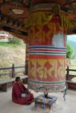 Large prayer wheel, Chimi Lhakhang