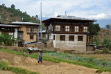 Bhutan farming village at harvest time