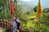 Terrace in front of the Zangdhopelri Hotel, Punakha