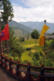 Prayer flags on the bannister