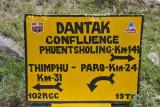 Dantak Confluence, three-way meeting point of the roads to Thimphu (31km), Paro (24km) and Phuentsholing (141km)
