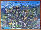 Faunal Biodiversity of Bhutan - outline of Bhutan with photographs of its native animals on a background of the Himalaya, Paro
