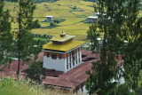 Looking down of Paro Dzong from the National Museum of Bhutan, a former watchtower