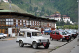 Downtown Paro with the Paro Dzong in the distance