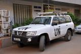 UN Land Cruiser parked in front of the Innam Hotel, Khartoum