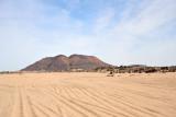 Tracks through the sand leading towards Jabal Alarambi