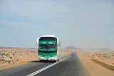 Sudanese bus coming from the direction of Wadi Halfa