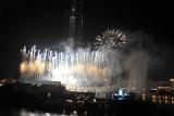 Fireworks around the base of Burj Khalifa for the inauguration
