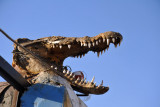 Crocodile head on the gate of the Nubian Guesthouse, Soleb